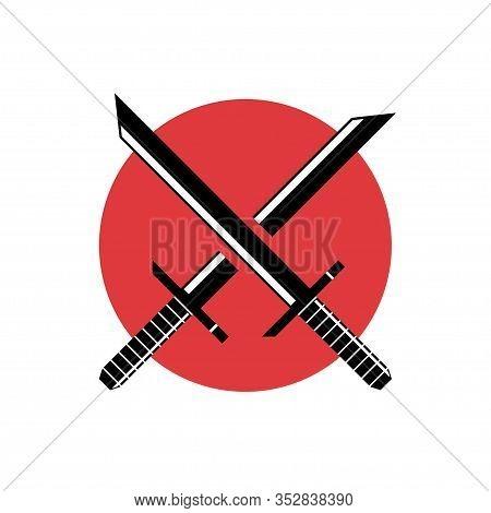 Warrior Katana Vector Illustration On Japan Flag Background