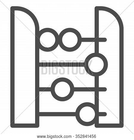 Abacus Line Icon. Accounting And Arithmetic Tool, Retro Counter. Education Vector Design Concept, Ou