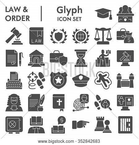 Jurisprudence Glyph Icon Set, Law And Order Collection, Vector Sketches, Logo Illustrations, Web Sym