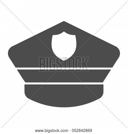 Policeman Hat Solid Icon. Police Officer City Cap. Jurisprudence Design Concept, Glyph Style Pictogr