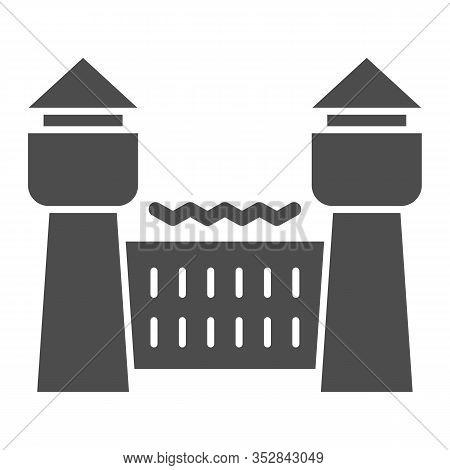 Jail House Solid Icon. Prison Castle, Penitentiary Building. Jurisprudence Vector Design Concept, Gl