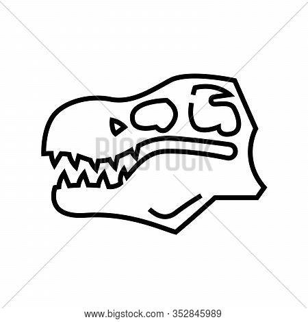 Dinosaur Skull Line Icon, Concept Sign, Outline Vector Illustration, Linear Symbol.