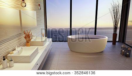 Luxury 3d Bathroom Illustration With Double Wash Basin. High Key Ceramic And Round Bath Tub With Big