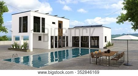 3d Illustration Of Modern Luxury House With Large Rectangular Swimming Pool. Property Equipped With