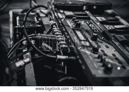 Bw Closeup Of A Guitar Pedal On Stage, Studio