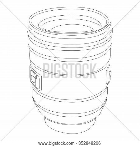One Single Line Drawing Of Slr Or Dslr Lens. Photography Equipment Concept Continuous Line Draw Desi