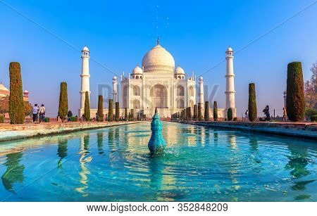 Taj Mahal, A Unesco World Heritage Site, Famous Landmark Of Agra, India