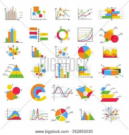 Finance Business Flat Diagram Chart Graph Vector Icons. Bars, Charts And Diagrams Graphics For Data
