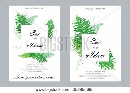 Vector Wedding Card With Outline Fossil Forest Plant Fern With Fronds In Pastel Green Isolated On Wh