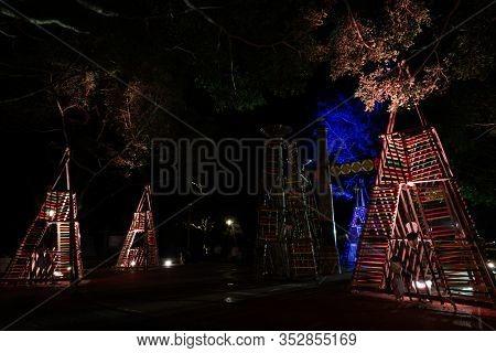 Nantou, Taiwan - Feb 2nd, 2020: Puli forest lantern festival in the night at Puli township, Nantou, Taiwan, Asia