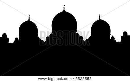 Mosque Silhouette Illustration With White Background