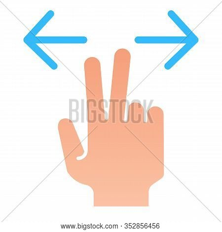 Two Fingers Resize Flat Icon. Enlarge Vector Illustration Isolated On White. Gesture Zoom In Gradien