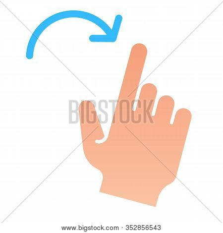 Flick Right Gesture Flat Icon. Swipe To Right Vector Illustration Isolated On White. Click Gradient
