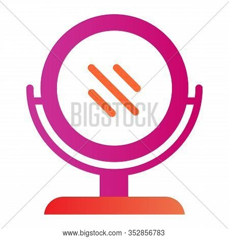 Round Makeup Mirror Flat Icon. Desk Mirror Vector Illustration Isolated On White. Table Mirror Gradi