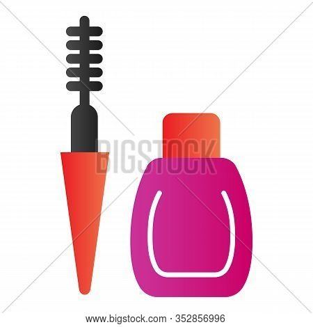 Mascara Flat Icon. Eyes Makeup Vector Illustration Isolated On White. Mascara Tube And Brush Gradien
