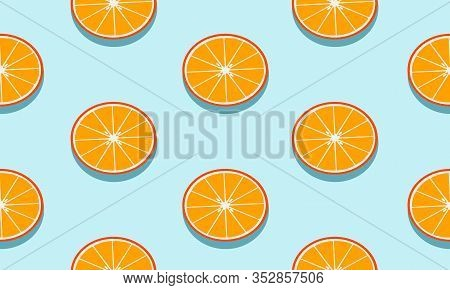 Seamless Blue Background With Mandarins Slices With Shadow. Vector Fruit Design For Pattern Or Templ