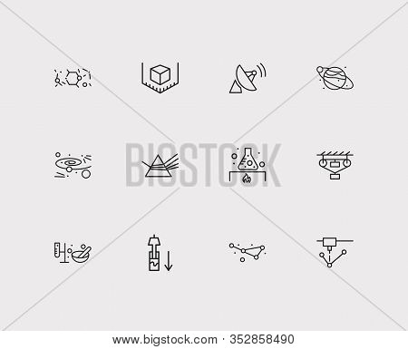 Physics Icons Set. Classical Mechanics And Physics Icons With Dispersion Of Light, Planet With Satel