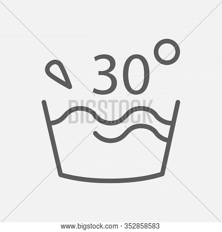 Water Temperature 30 Deg Icon Line Symbol. Isolated Vector Illustration Of Icon Sign Concept For You