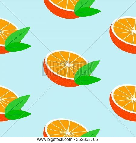Seamless Blue Background With Halves Mandarins With Leaves. Vector Fruit Design For Pattern Or Templ