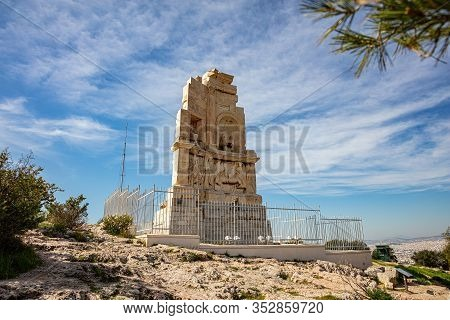 Philopappos Monument, Blue Sky Background. Athens, Greece,