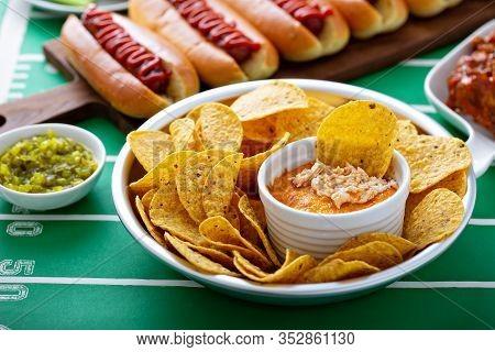 Buffalo Chicken Dip And Tortilla Chips, Super Bowl Food