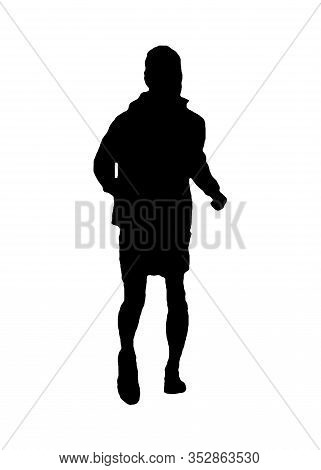 Back View Thin Man Running Isolated Graphic Silhouette