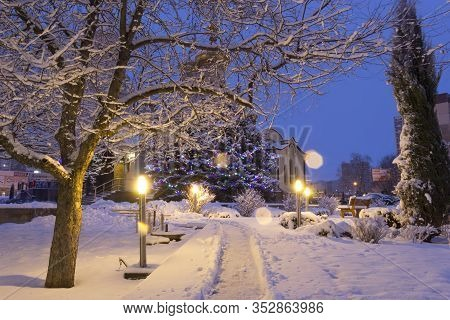 Donetsk, Ukraine. 2020, January 7. Christmas. Scenic View Of The Snowy Fir Trees And The Temple From
