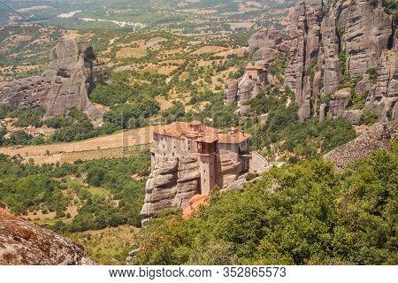 Meteora Monasteries, View Of The Convent Of Rousanou (st. Barbara), Greece