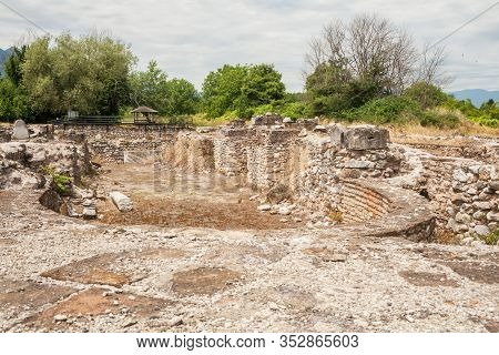 Ruins Of Unfinished Cathedral Church In Archaeological Park Of Dion, Greece