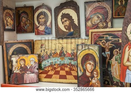 Meteora, Greece - June 12, 2009: Sale Of Icons In The Icon Painting Workshop In The Monastery Shop