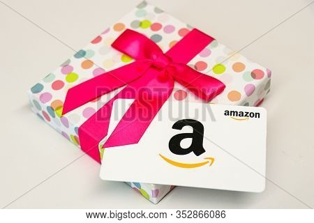 Washington, D.c. / Usa - Feb. 26, 2020: An Amazon.com Gift Card Is Often Gifted To People During Spe