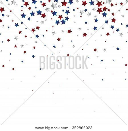 July 4 Background With Stardust Frame. Red And Blue Stars Border For American Independence Day Graph