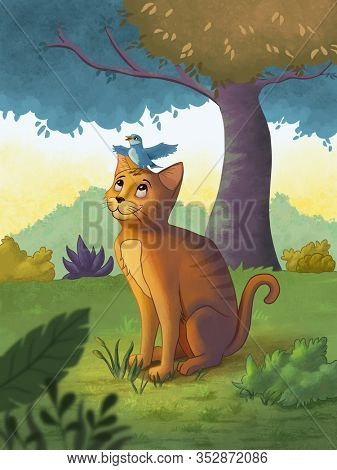 Friendly cat with a singing bird perched on its head. Digital illustration