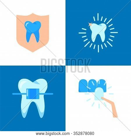 Aesthetic Dentistry Icon Set In Flat Style