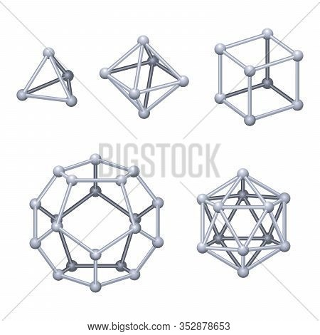 Gray Colored Platonic Solids 3d. Regular Convex Polyhedrons In Three-dimensional Space With The Same