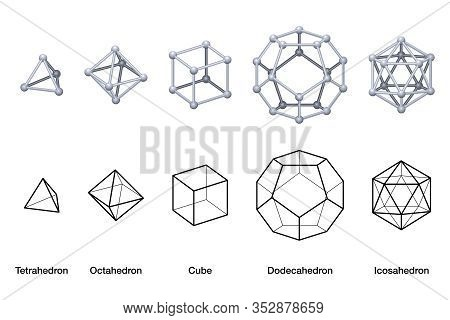 Gray Colored Platonic Solids 3d And Black Wireframe Models. Regular Convex Polyhedrons With Same Num