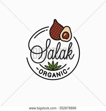 Salak Fruit Logo. Round Linear Of Snake Slice