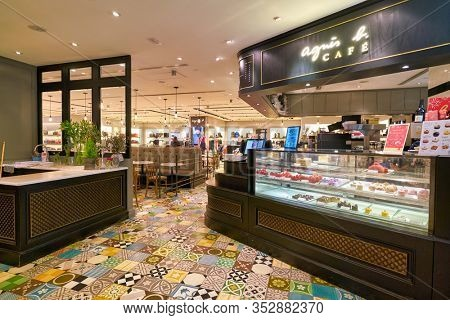 HONG KONG, CHINA - JANUARY 23, 2019: Agnes B Cafe at New Town Plaza shopping mall in Sha Tin.