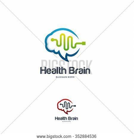 Health Brain Logo Designs Concept Vector, Brain Pulse Logo, Brain Vibe Logo Template Vector