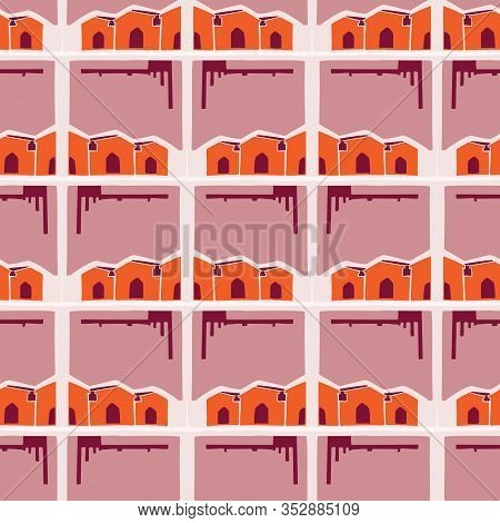 Architectural Buildings Vector Seamless Pattern. Paper Cut Style Collage Background. House Hut Dwell