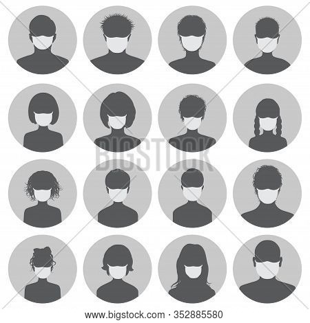 Set Of Round Avatars In Medical Masks. Black Silhouettes Of Masked Men And Women On A Gray Backgroun