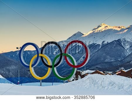 Sochi, Russia - Jan 24, 2017: Olympic Rings As A Symbol Of The Winter Olympic Games In Sochi 2014, I