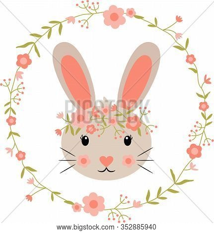 Scalable Vectorial Representing A Round Flower Wreath With Spring Bunny Face, Element For Design Iso
