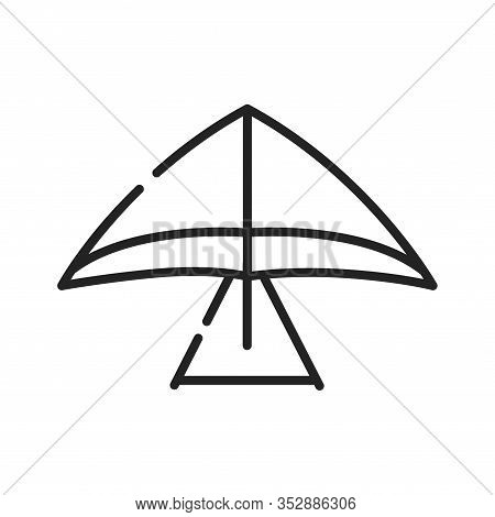 Hang Gliding Black Line Icon. Air Sport Or Recreational Activity. Pilot Flies. Pictogram For Web Pag