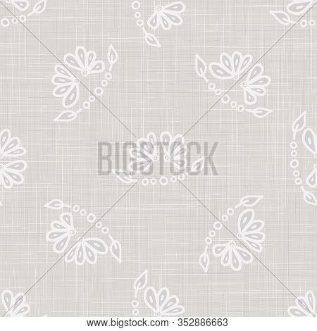 Gray Vector French Linen Texture Background. Printed With White Daisy Leaf Flower.