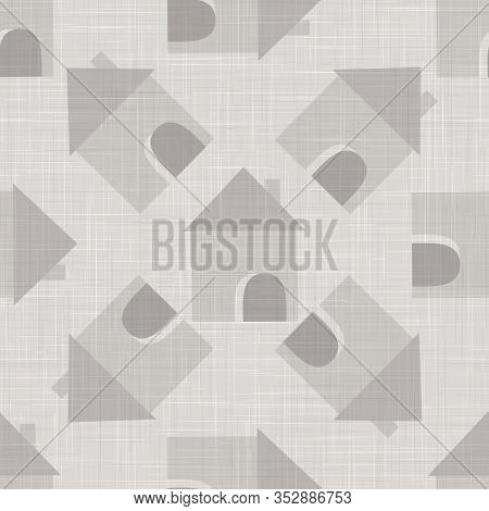 Gray Vector French Linen Woven Texture Background. Printed With Cottage House Or Chalet Home