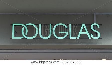 Trier, Germany - September 13, 2019:   Perfumery Douglas Window Store With Premium Brand Products, P