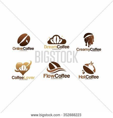 Set Of Coffee Logo Designs Concept Vector, Various Coffee Bean And Coffee Cup Logo Template Vector I