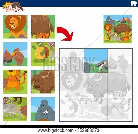 Cartoon Illustration Of Educational Jigsaw Puzzle Game For Children With Funny Wild Animals Comic Ch