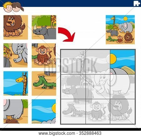 Cartoon Illustration Of Educational Jigsaw Puzzle Game For Children With Funny Wild Animals Characte